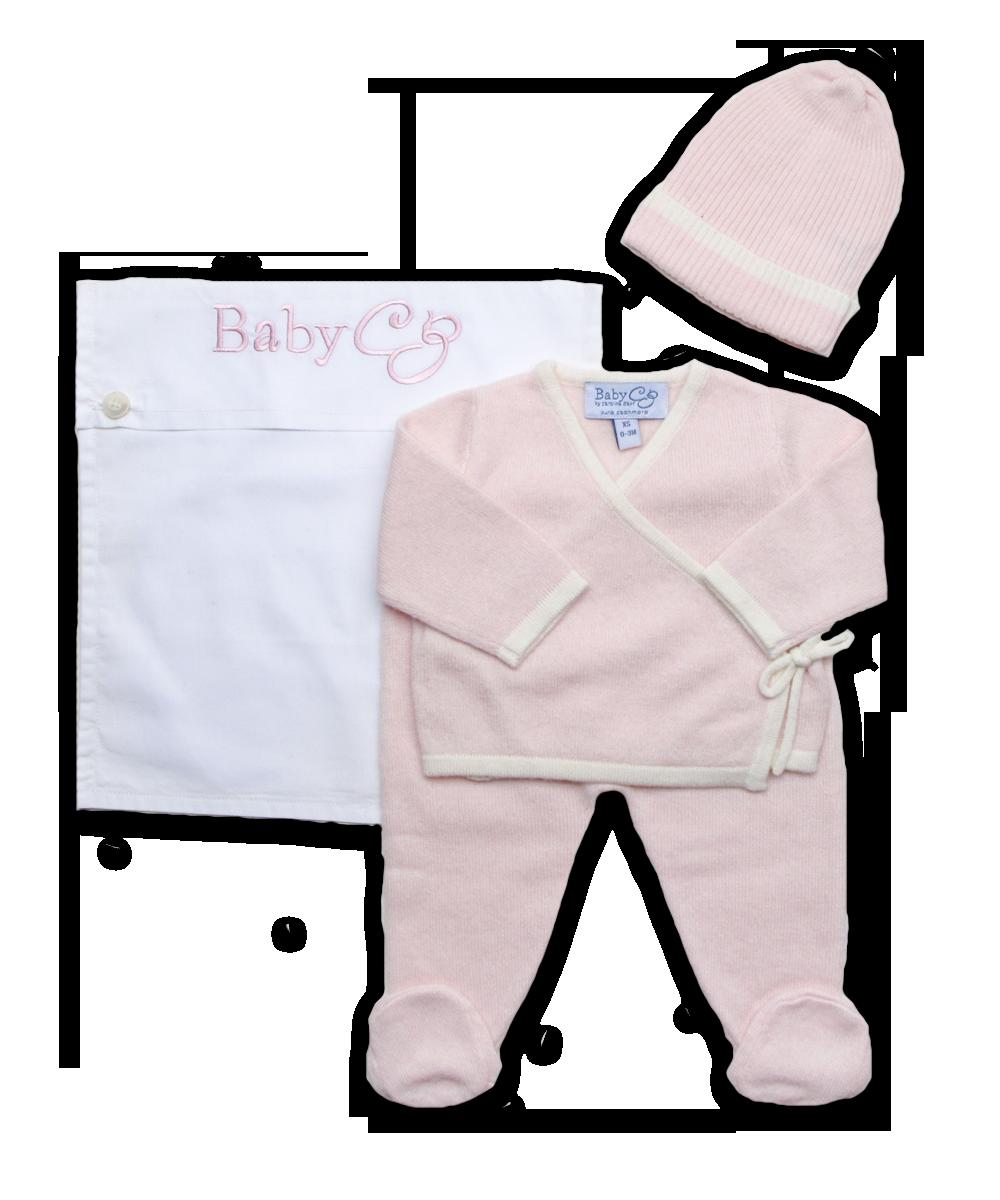 Cashmere Kimono Wrap Layette Set in Pink and Creme