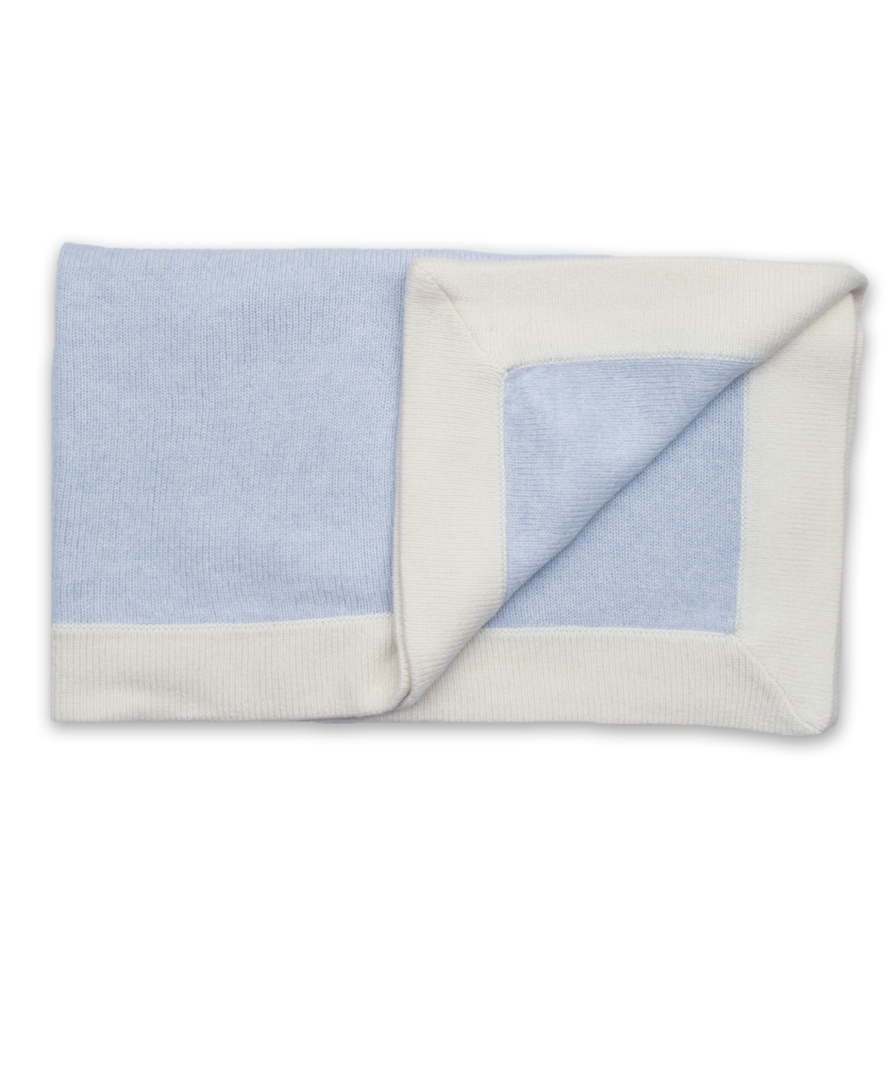 Cashmere Blanket with Wide Binding in Blue and Creme