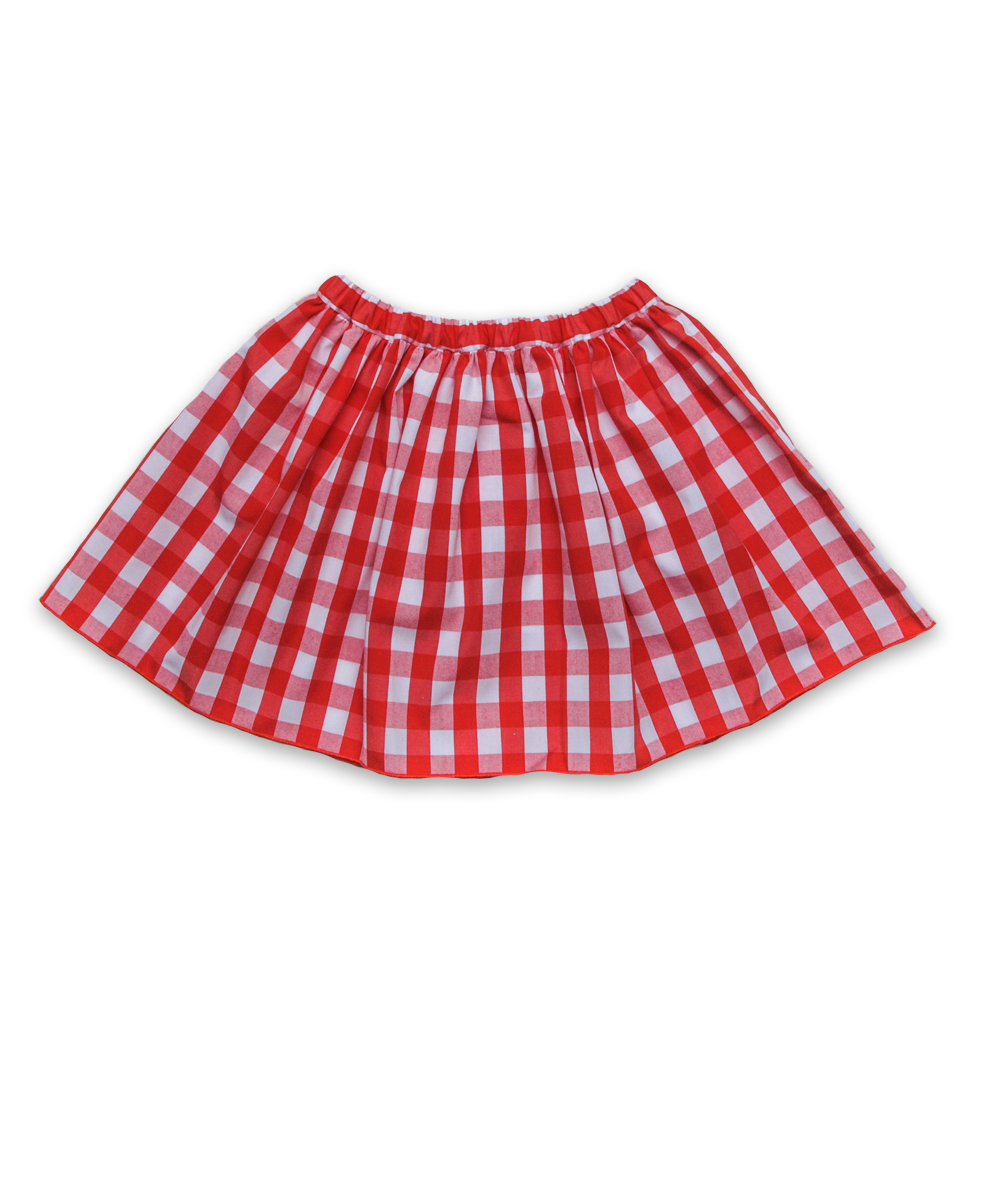 Cotton Skirt in Red Check