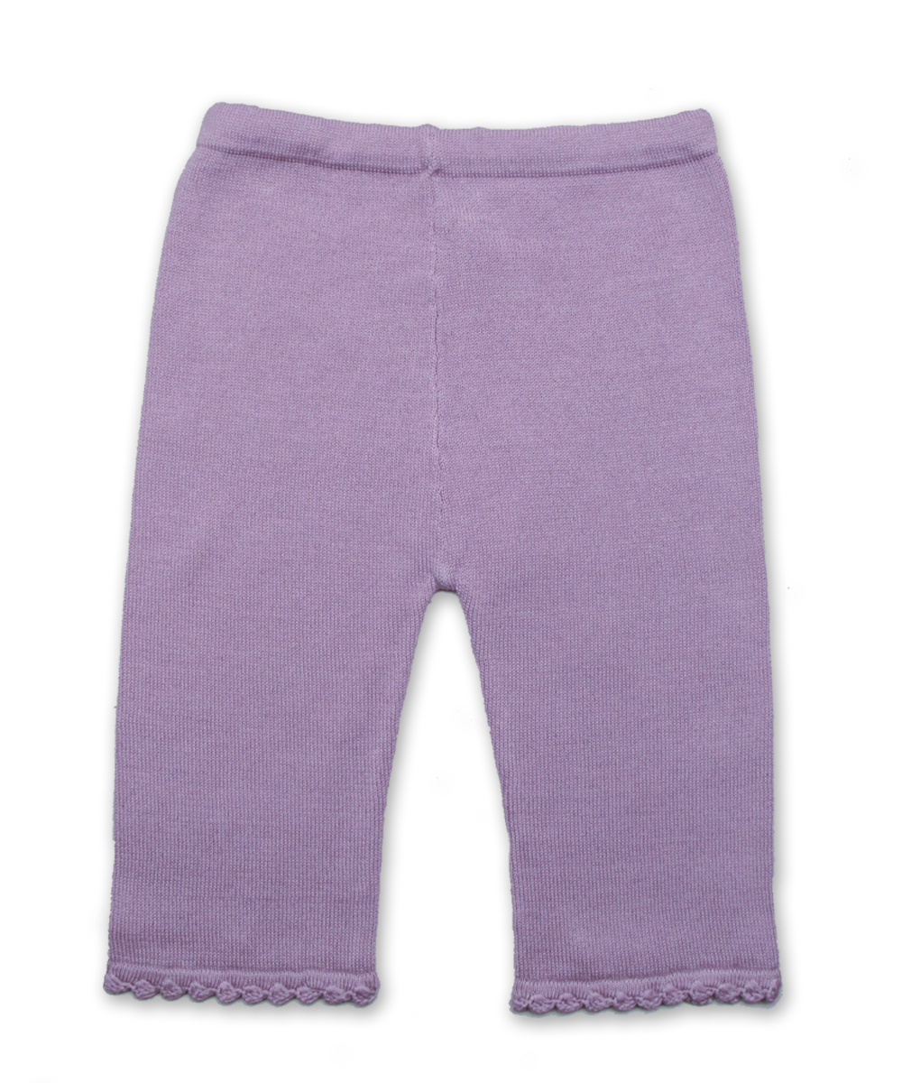 Cotton Lounge Pant with Crochet in Lavender