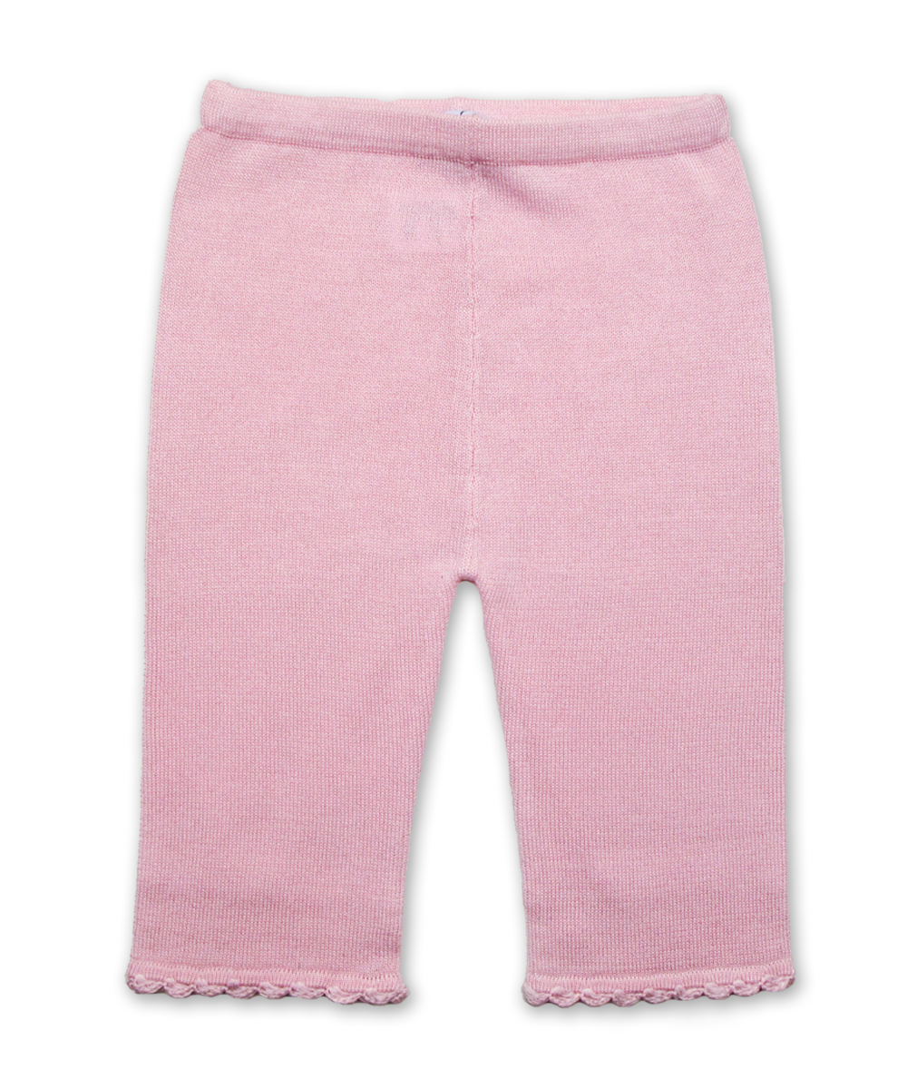 Cotton Lounge Pant with Crochet in Pink