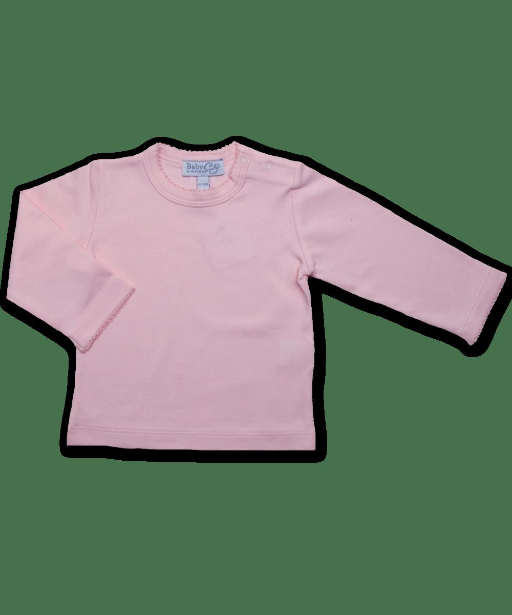 Pima Cotton Longsleeve Tee w/ Crochet in Pink