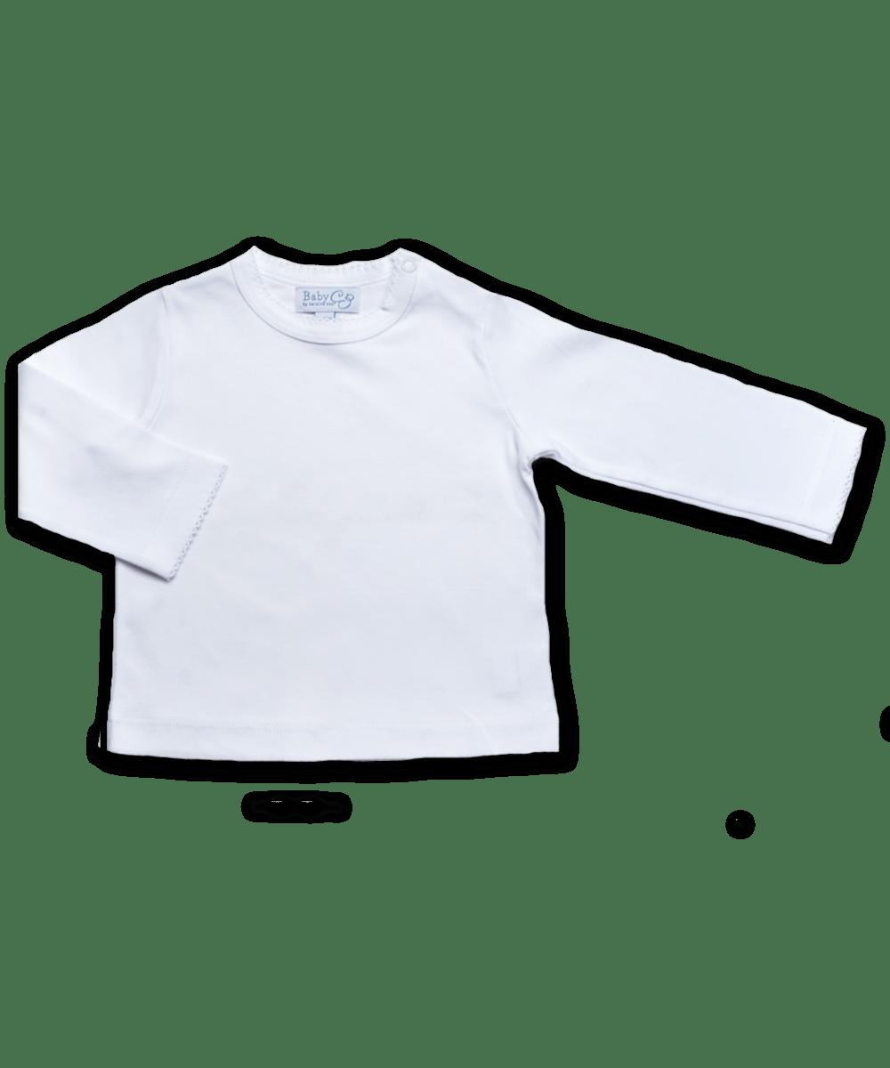 Pima Cotton Longsleeve Tee w/ Crochet in White