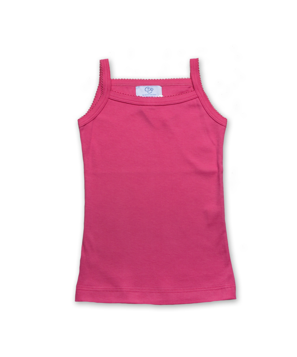 Pima tank with crochet in rose