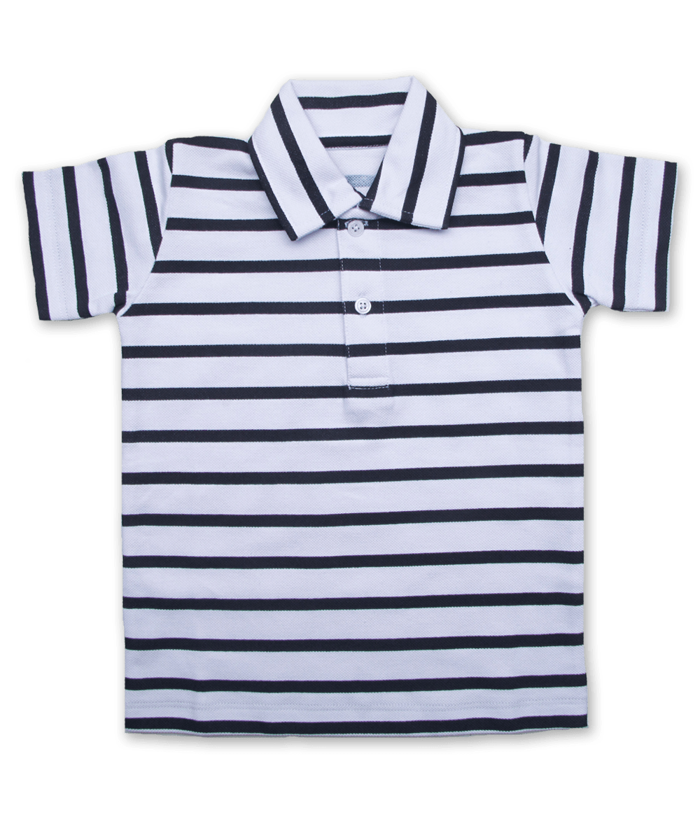 Polo Shirt in White/Navy Stripe