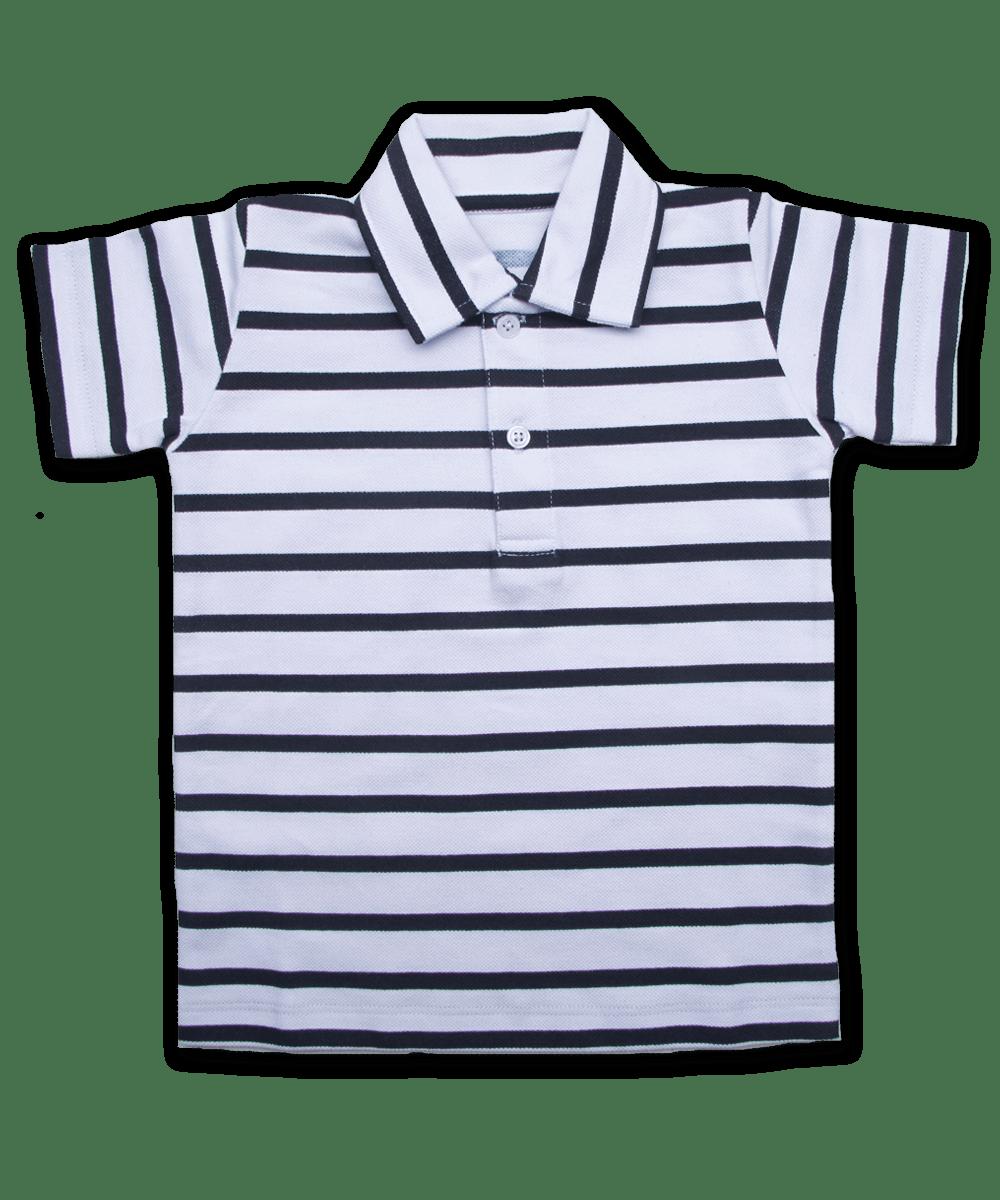 Polo Shirt in White/Navy Stripe