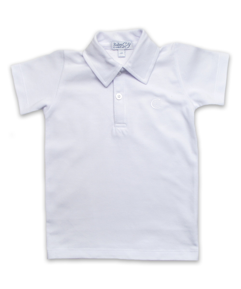 piqué cotton polo, white
