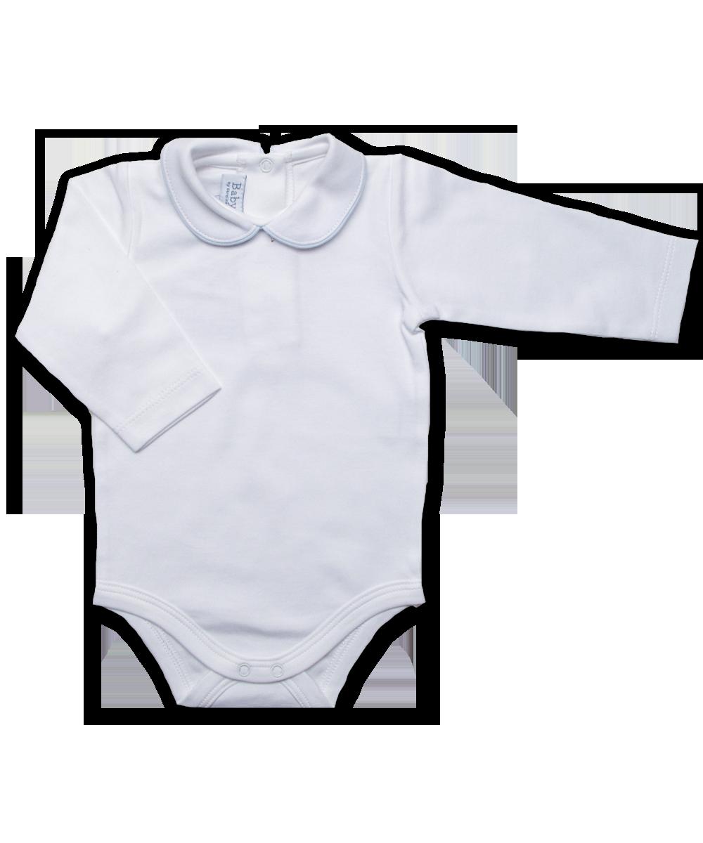 Peter Pan Collar Bodysuit in White/Blue