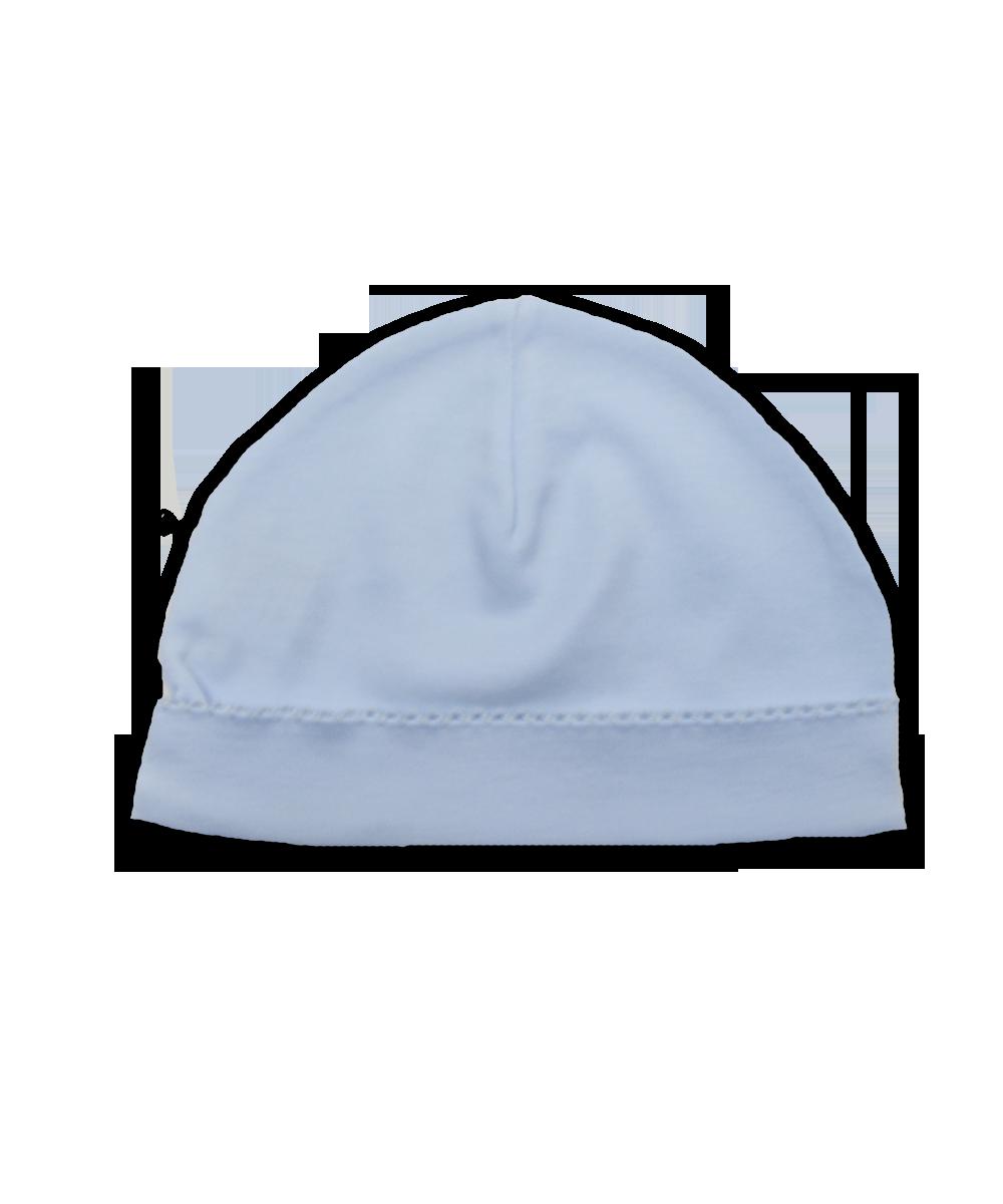 Pima hat with crochet, blue