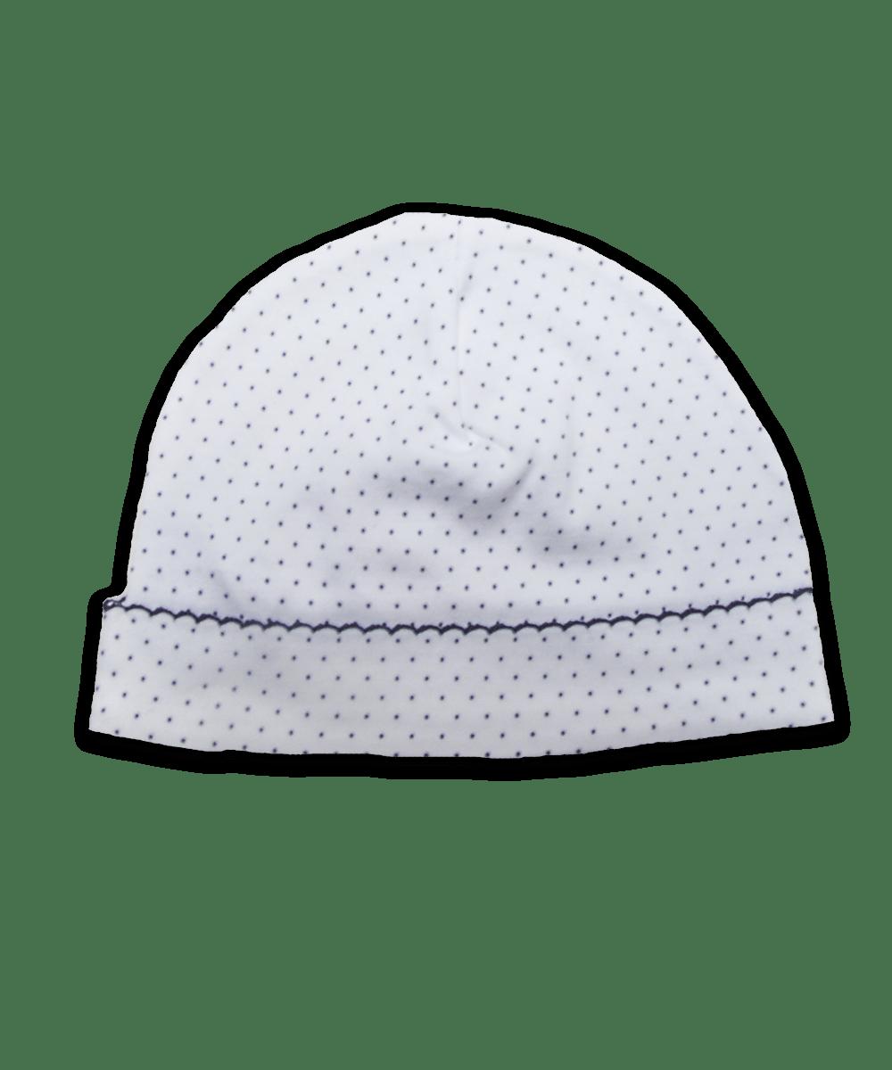 Pima Hat with Crochet in Tiny Dot Navy