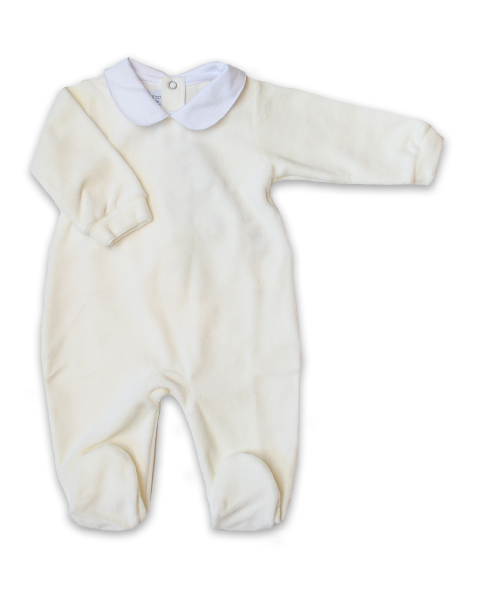 Collared Velour Footie in Creme