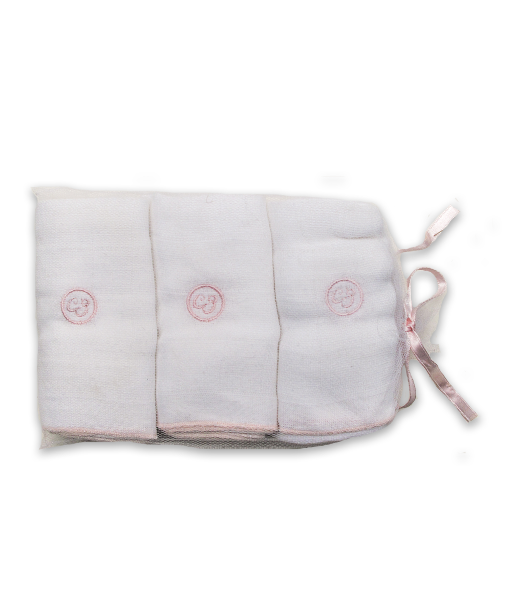 3 Pack Gauze Burp Cloth Set in Pink
