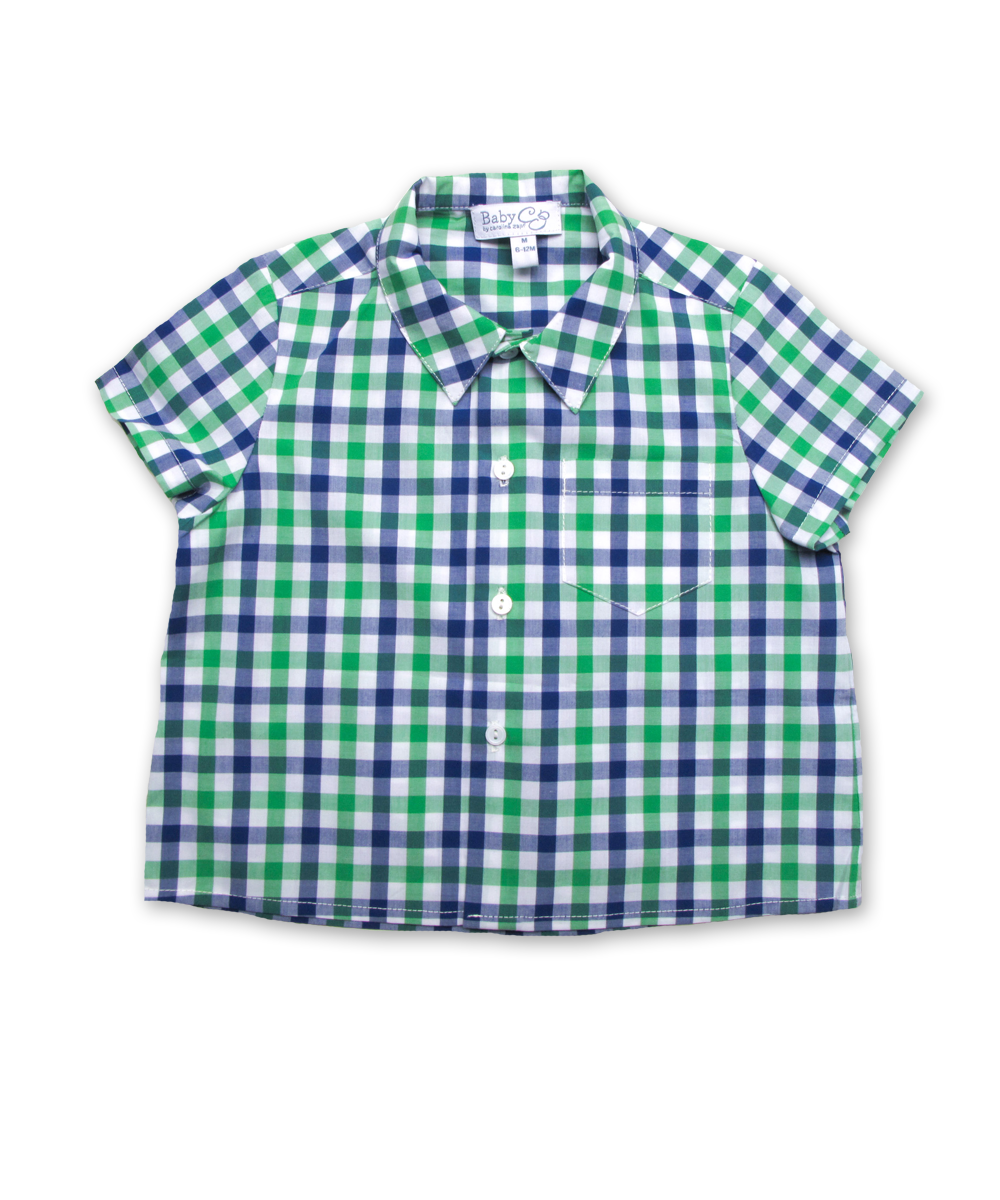 Baby Shirt in Green/Marine Plaid
