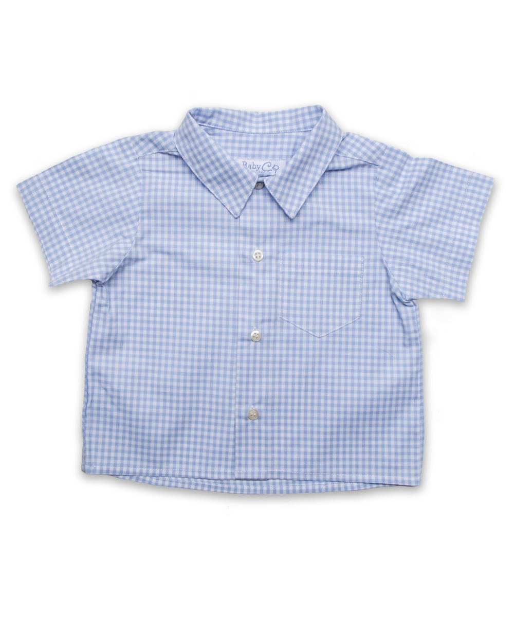 Baby Boy Shirt in Mini Blue Check