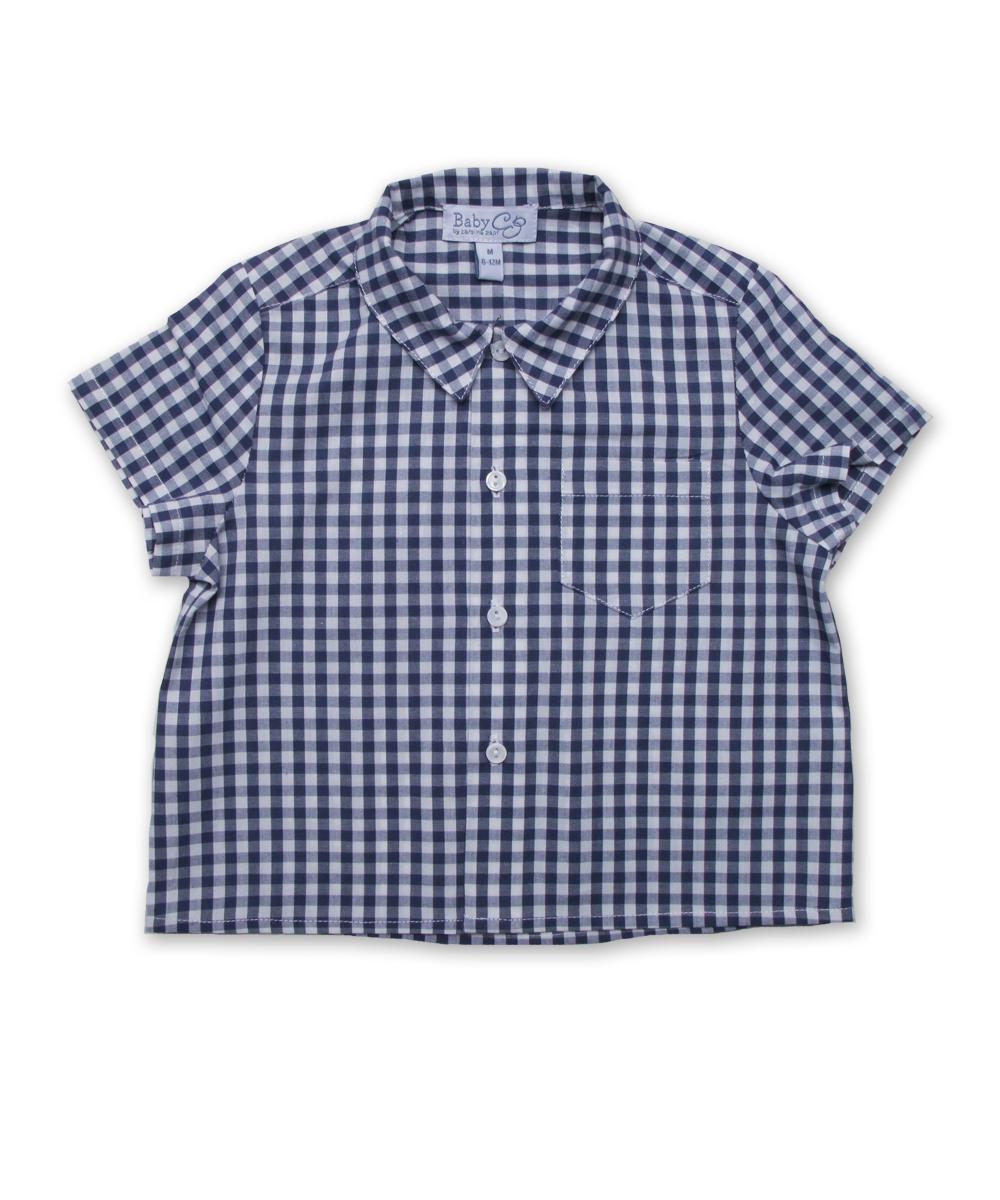baby boy short sleeved shirt, navy check