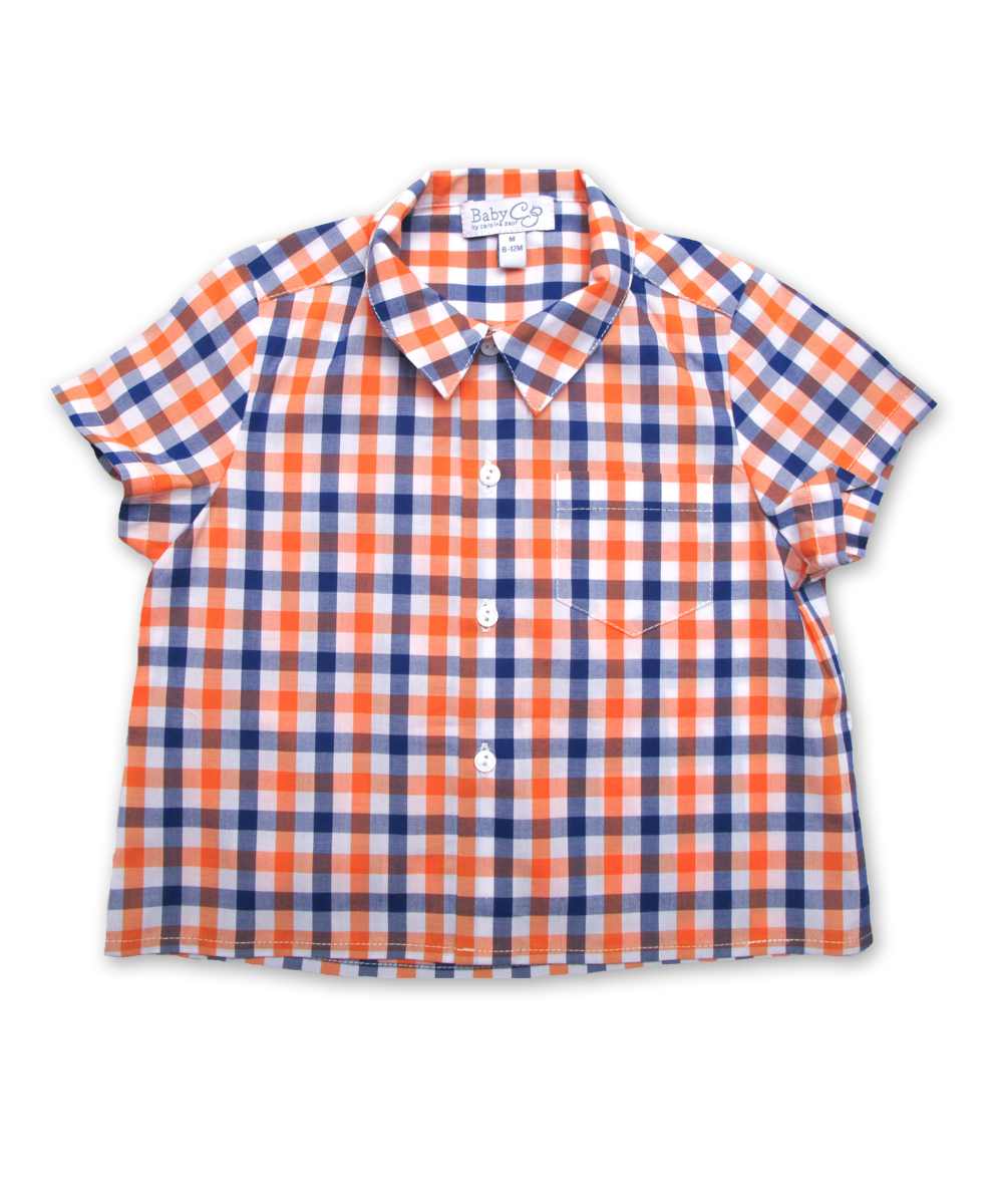 Baby Shirt in Orange/Marine Plaid