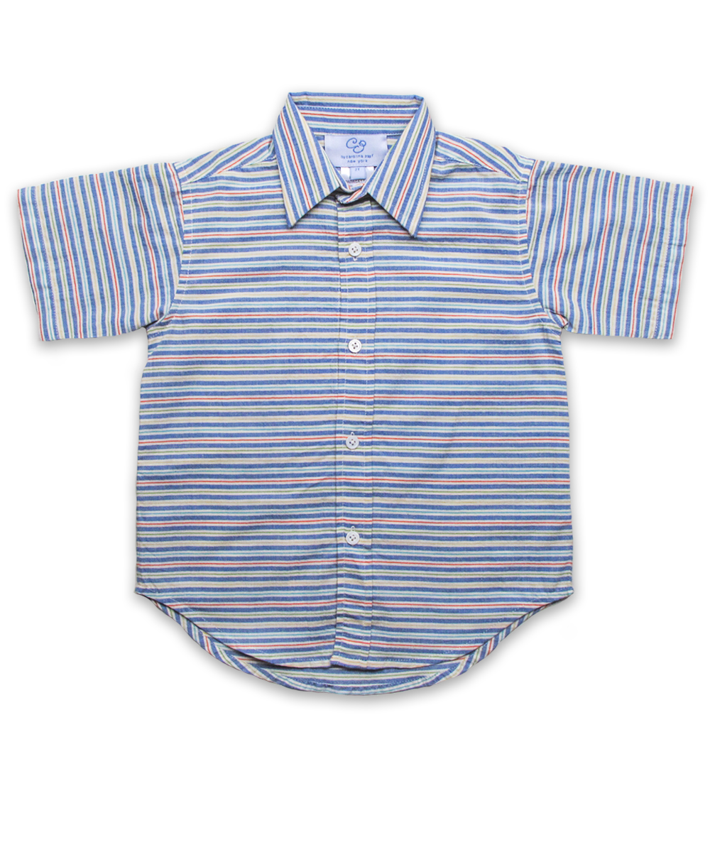 Boys' Short Sleeve Shirt in Blue Multi Stripe