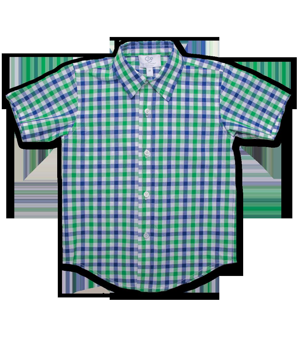 Boys' Short Sleeve Shirt in Green/Marine Plaid