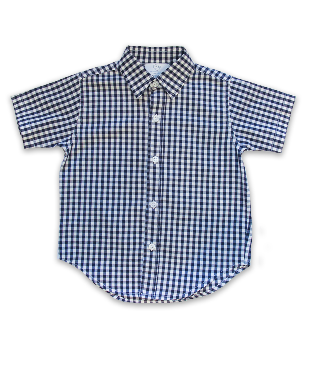 Boys' Short Sleeve Shirt in Navy Check