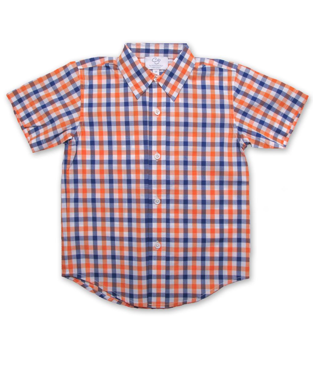 Boys' Short Sleeve Shirt in Orange/Marine Plaid
