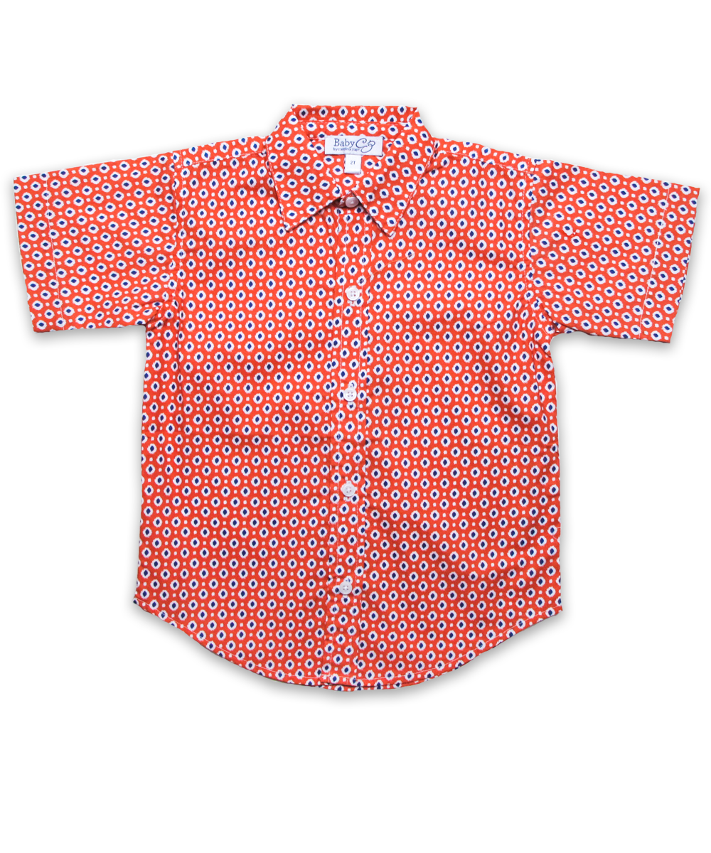 Boys' Short Sleeve Shirt in Orange Ikat
