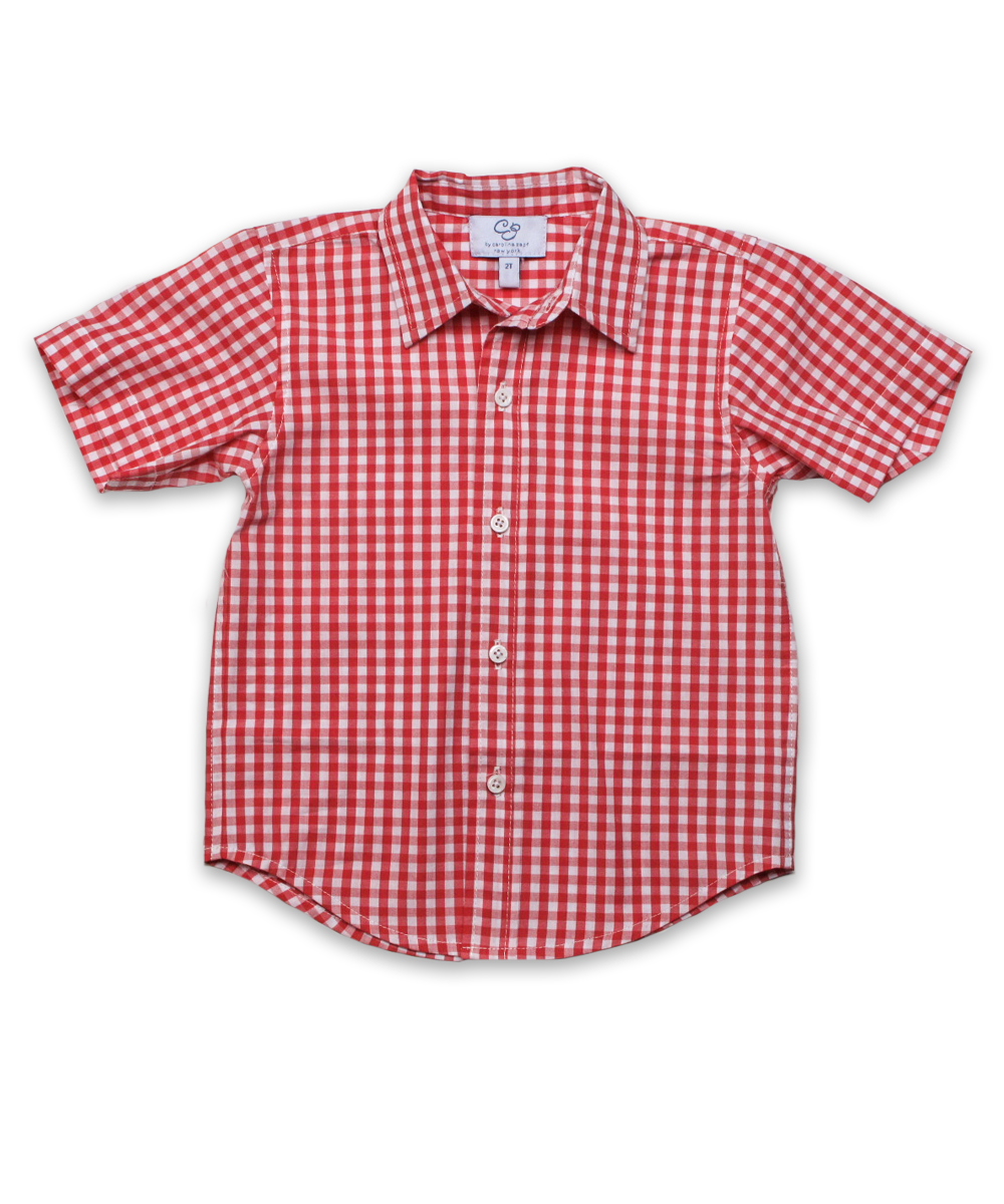 Boys' Short Sleeve Shirt in Red Check