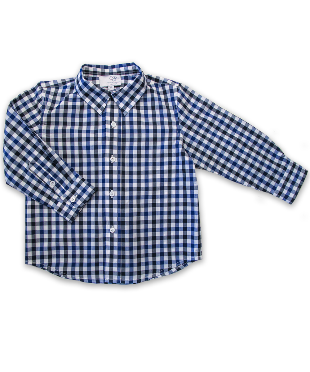 Longsleeve Shirt in Blue and Navy Check