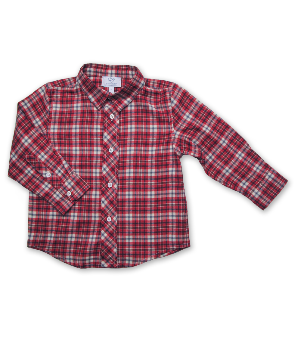 Longsleeve Shirt in Red/Blue Plaid
