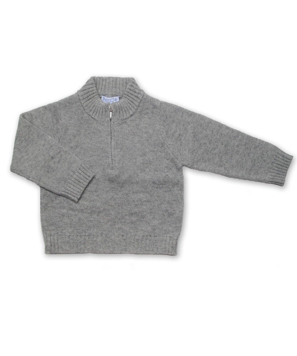 Boy's Cashmere Half Zip Sweater in Silver