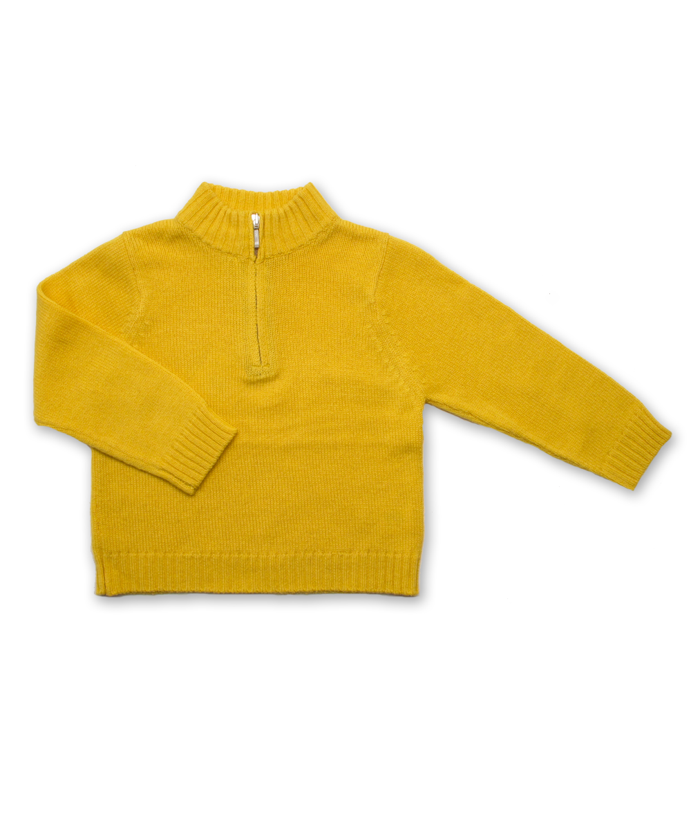 Boy's Cashmere Half Zip Sweater in Yellow