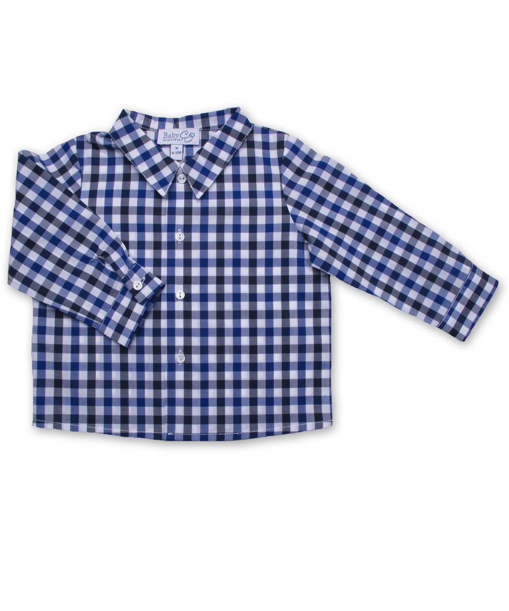 Baby Boy Longsleeve Shirt in Blue and Navy Check