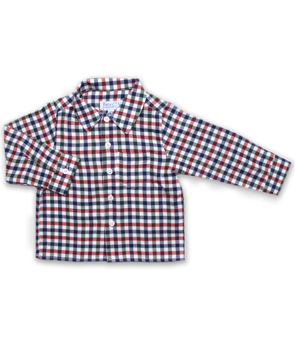 Baby Boy Longsleeve Shirt in Navy/Green/Red Plaid