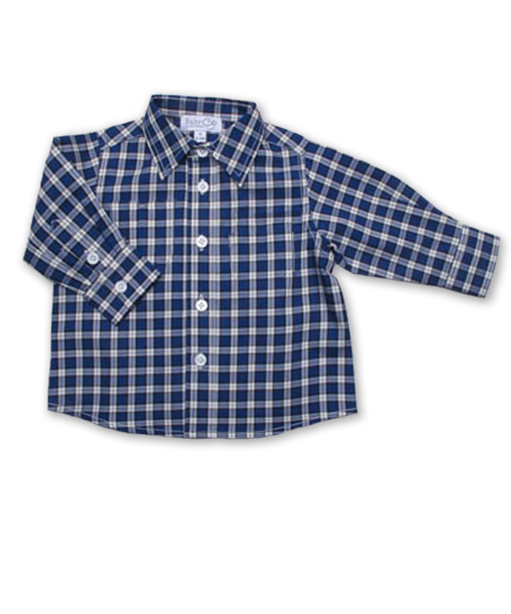 Baby Boy Longsleeve Shirt in Royal Windowpaine