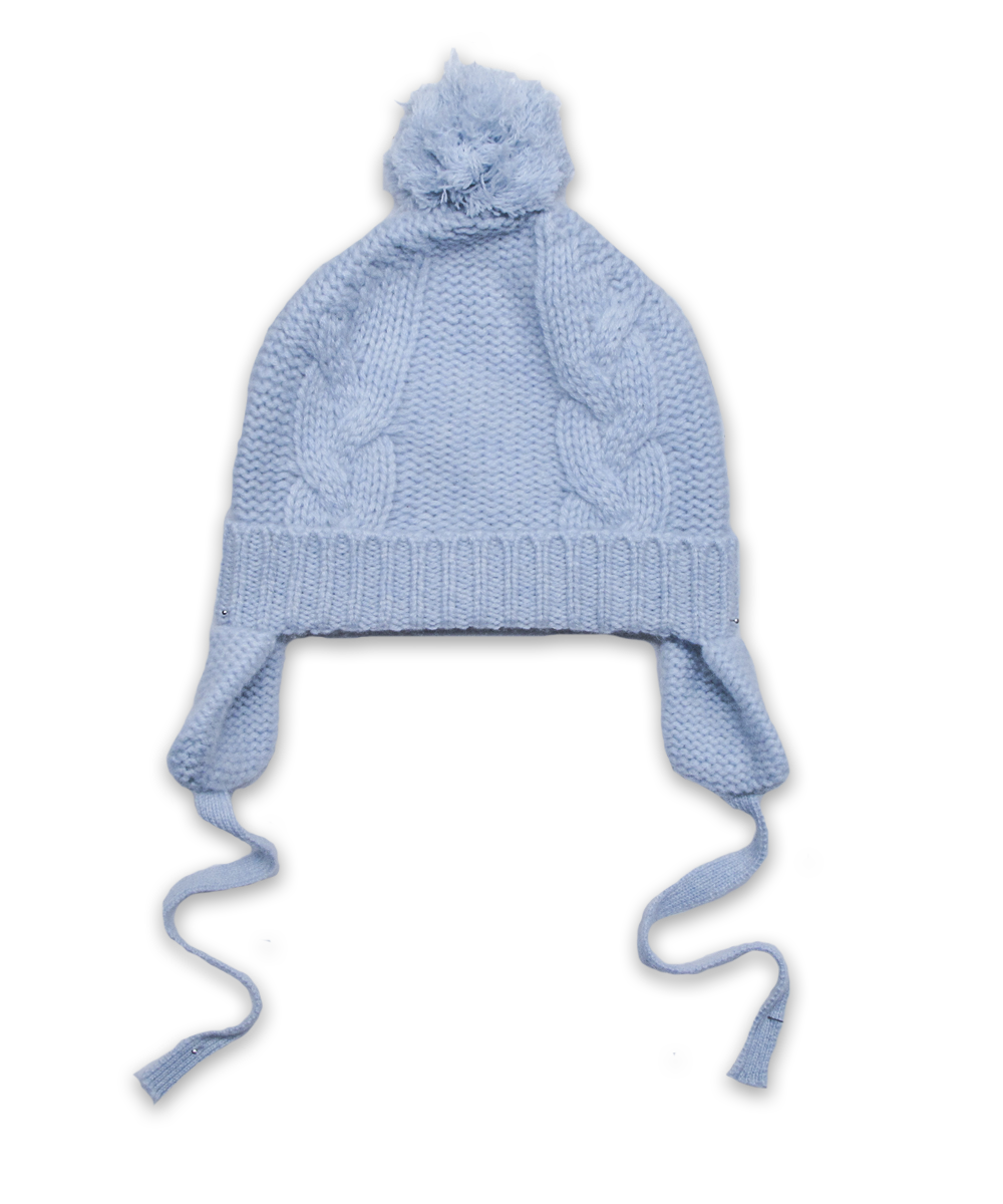 Cashmere Chunky Cable Pom Hat in Blue