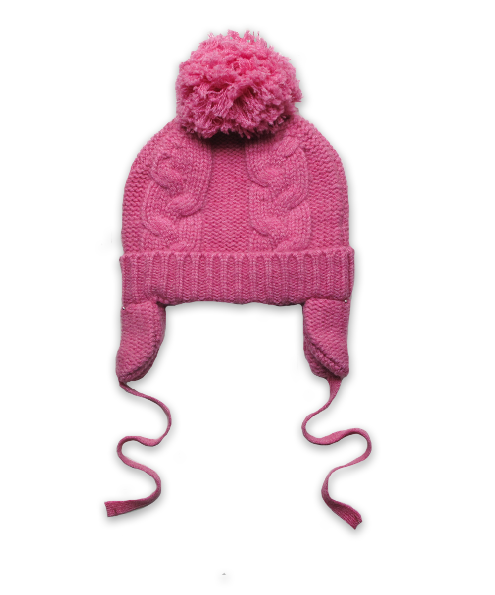 Cashmere Chunky Cable Pom Hat in Bright Pink