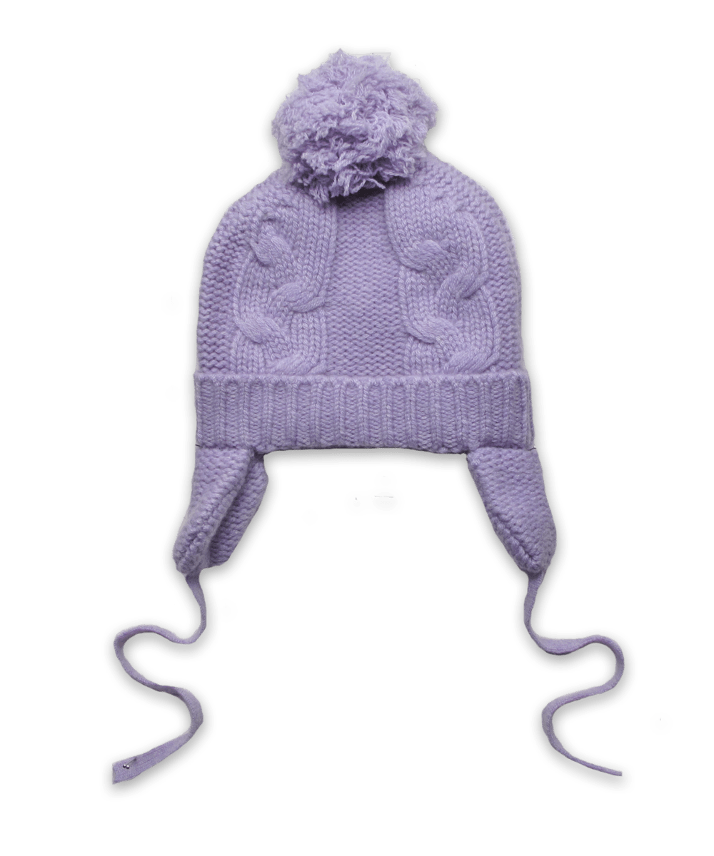 Cashmere Chunky Cable Pom Hat in Lavender