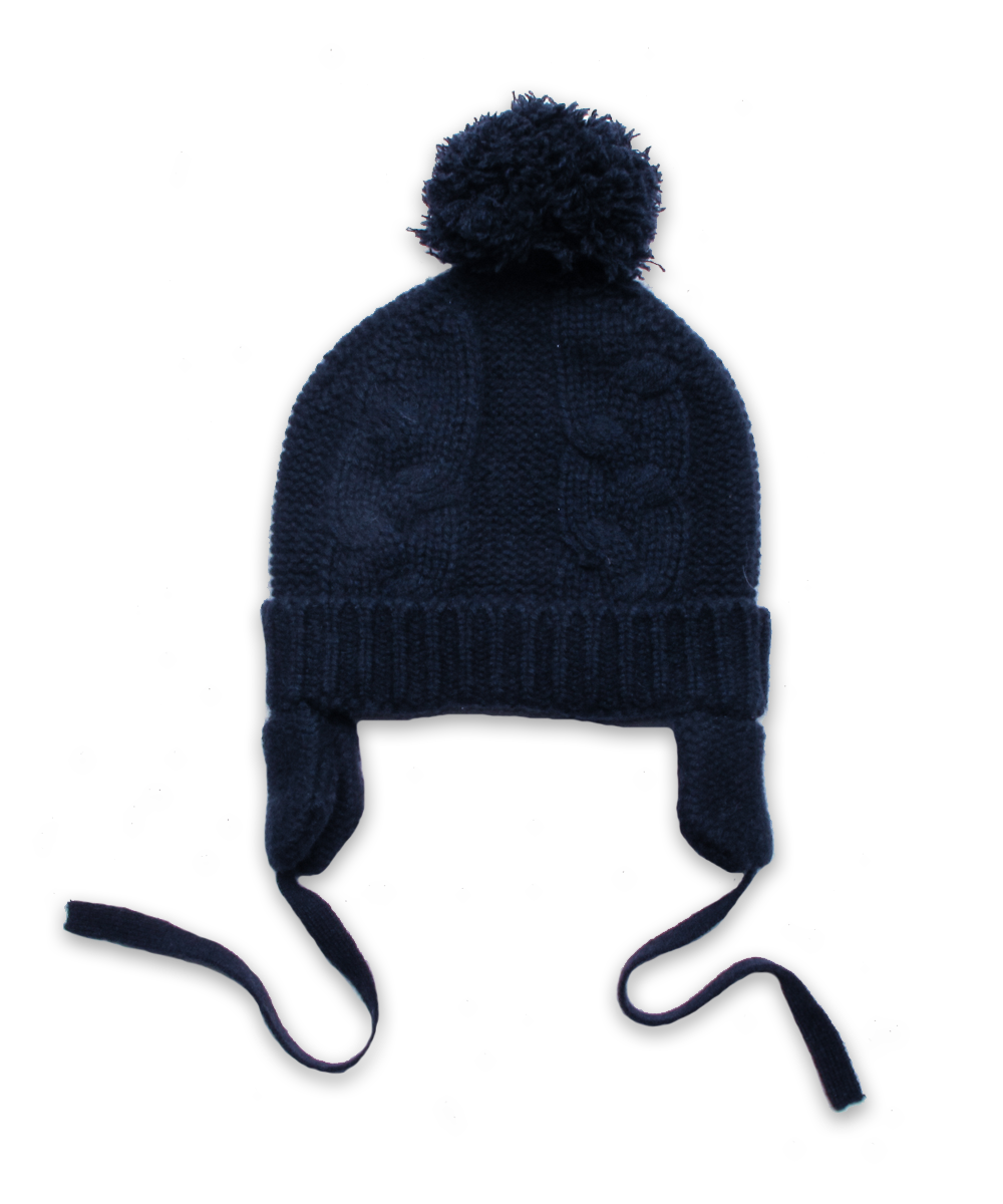 Cashmere Chunky Cable Pom Hat in Navy