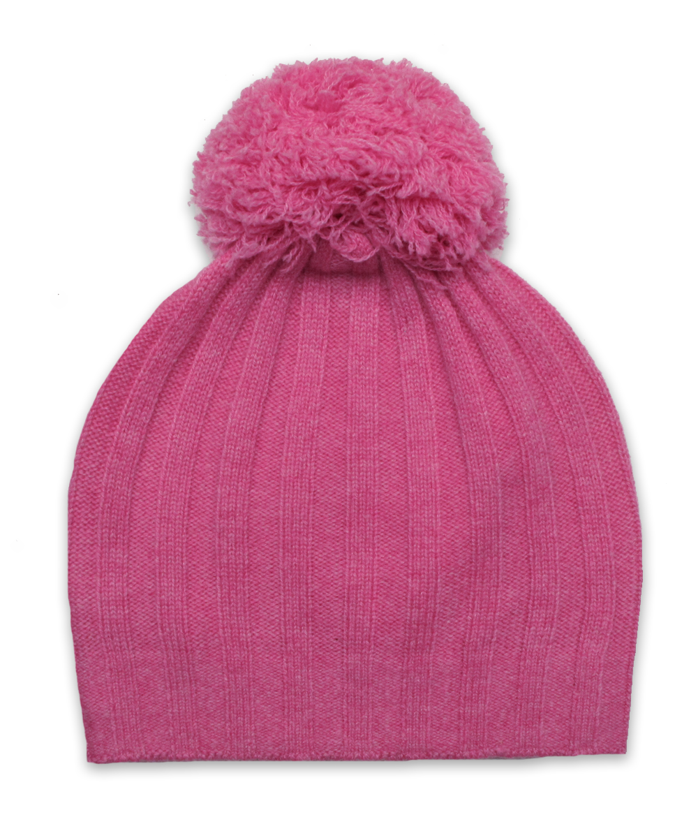 Girls Ribbed Pom Pom Hat Bright Pink