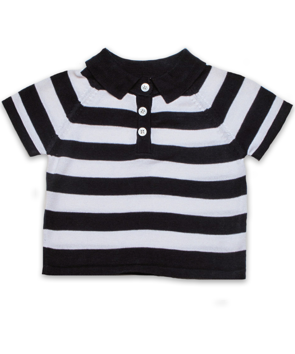 striped cotton sweater polo in navy/white