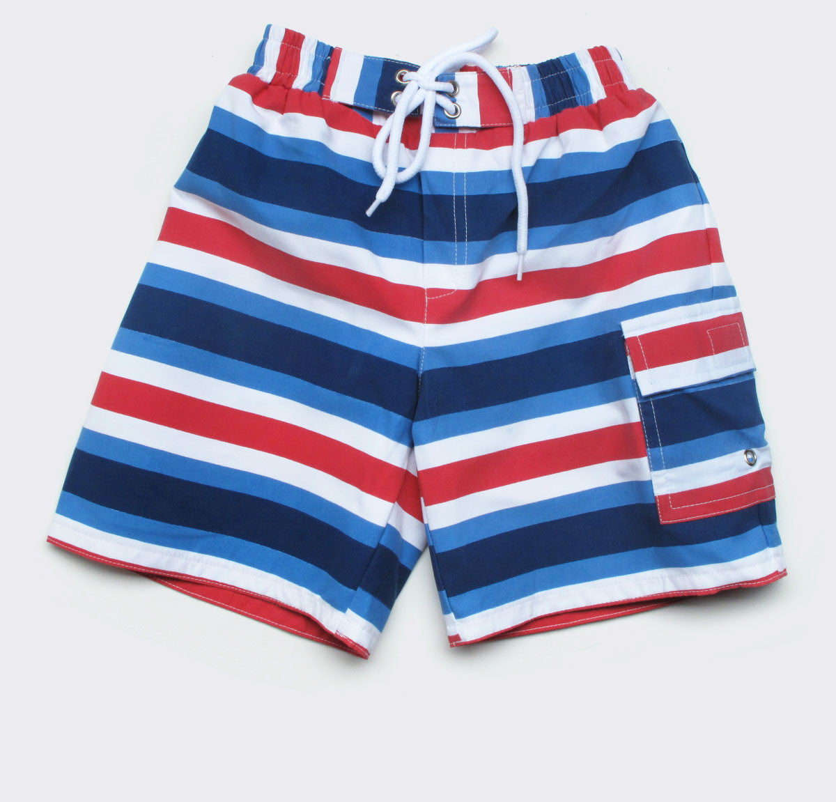 baby swim trunks in ocean/red Contrast Stripe print