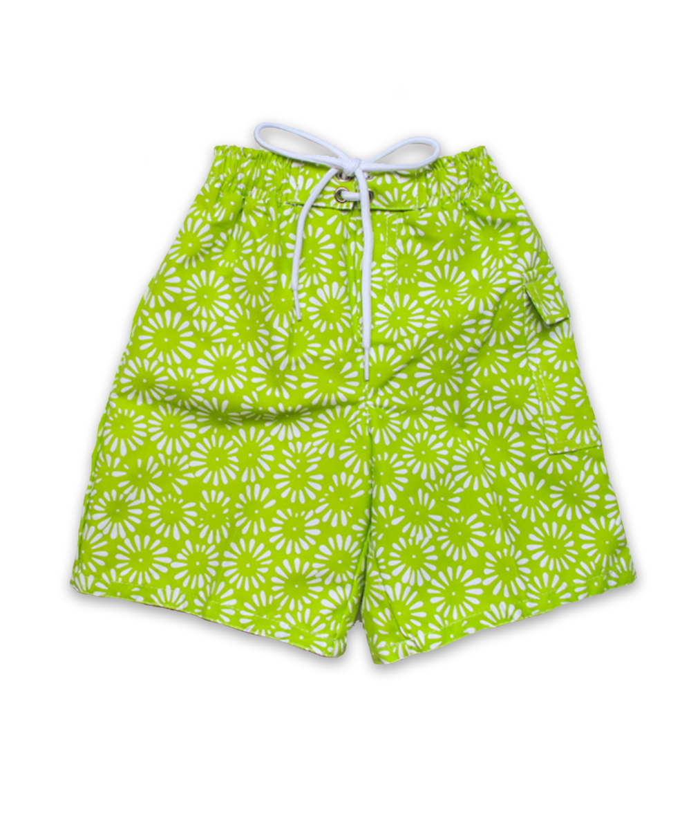 Swim Trunks in Aurora Floral Lime