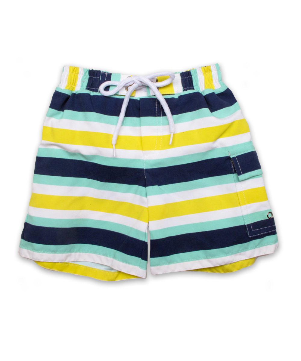swim trunks in yellow/aqua Contrast Stripe
