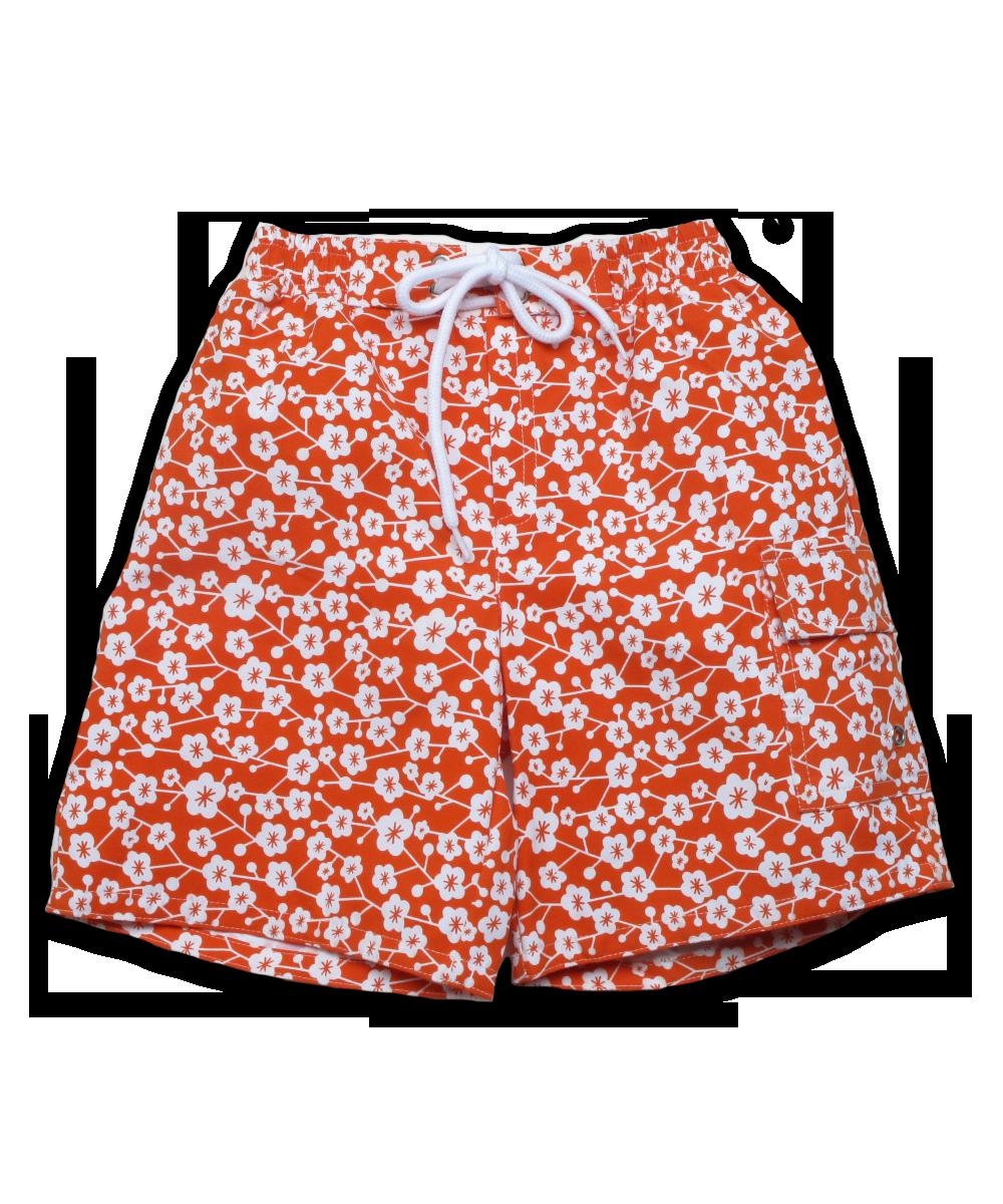 swim trunks in orange Kyoto Floral