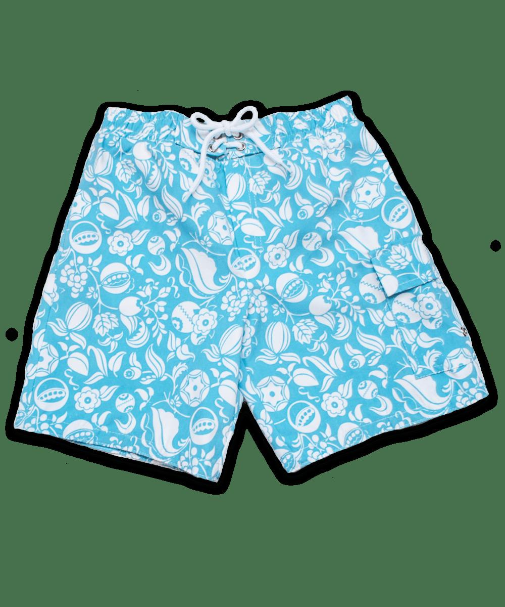 swim trunks, aqua Nouveau Floral print