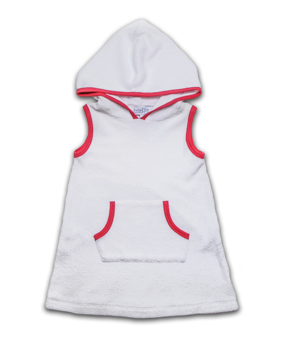 Hooded Terry Dress in White/Magenta
