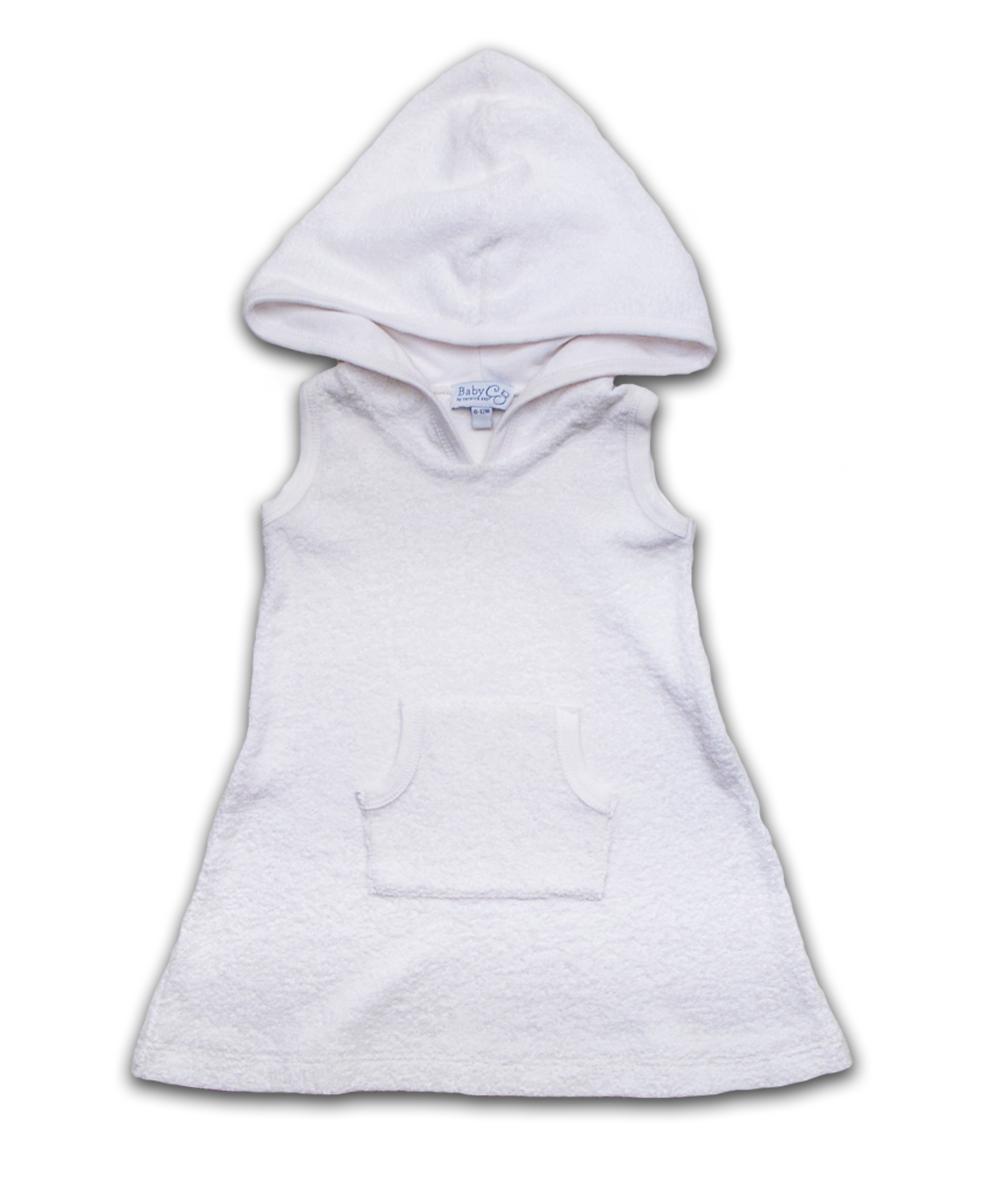 Hooded Terry Dress in White