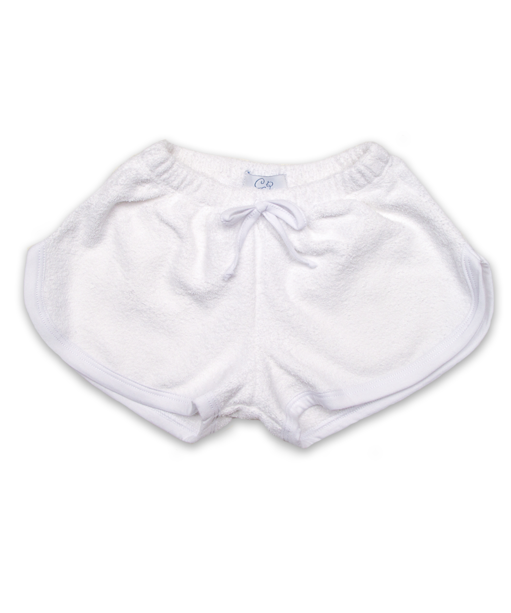 Terry shorts with trim in white/white
