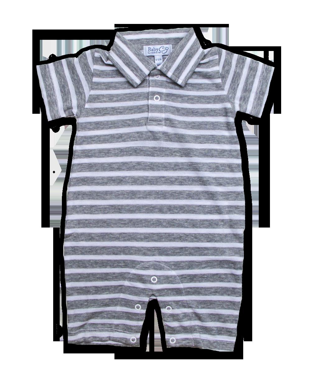 Pique' Polo Jumper in Gray Stripe
