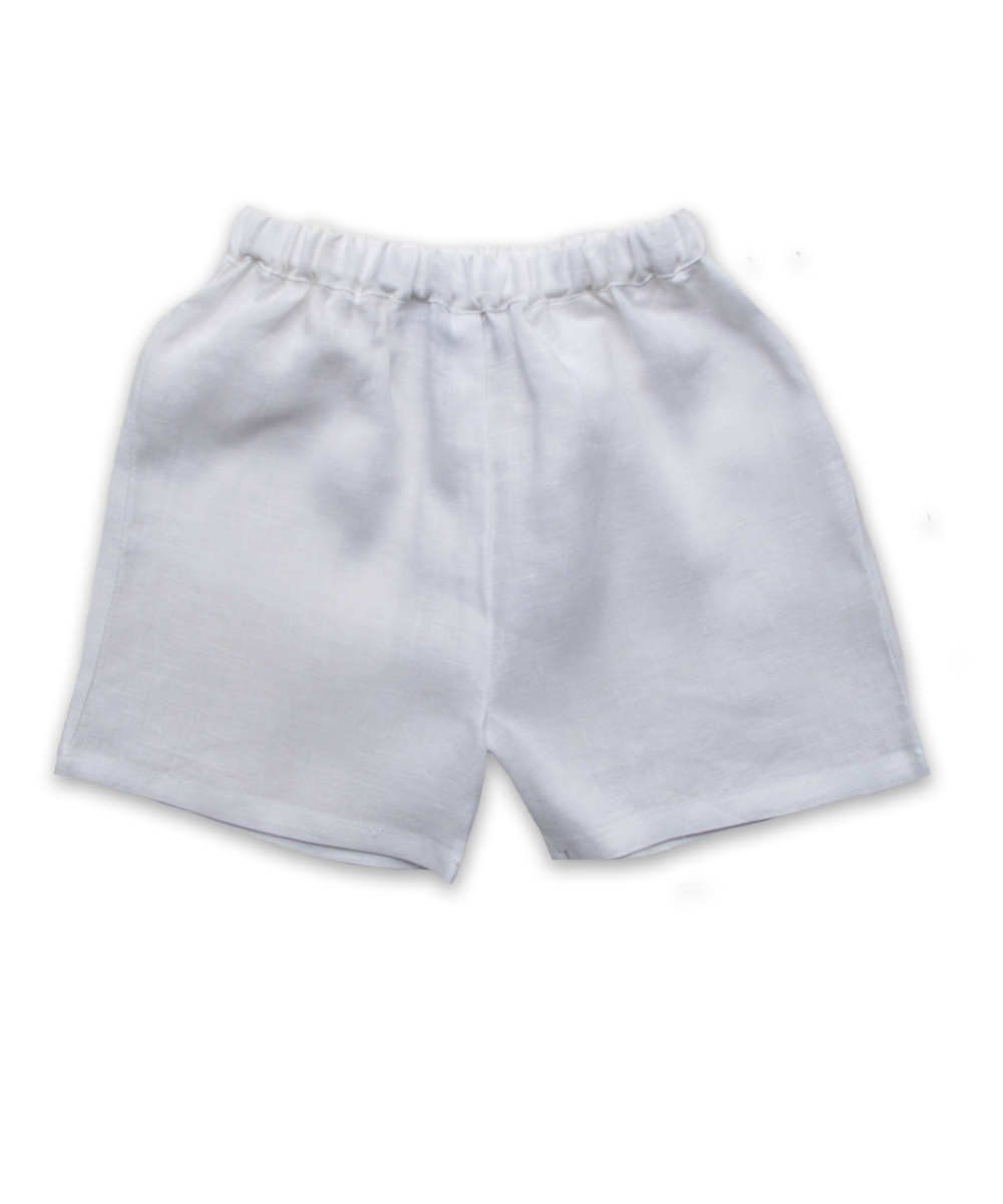 Baby Boy short in White Linen