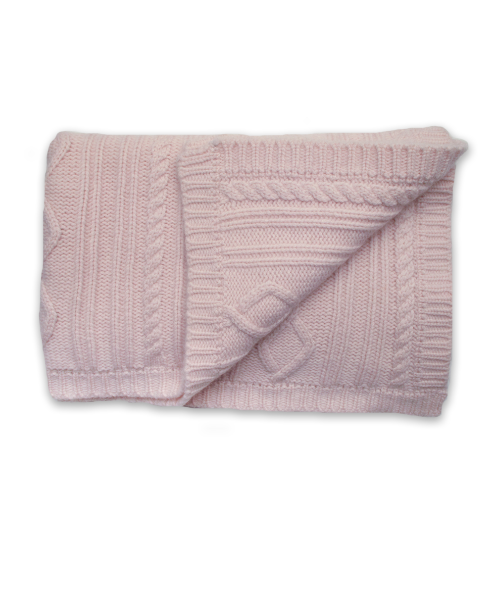 Cashmere Baby Blanket with Fisherman Cable in Pink